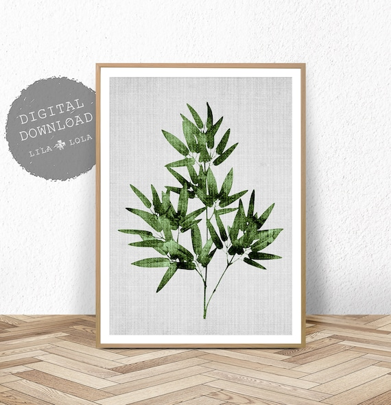 Bamboo Leaf Print, Tropical Wall Art, Botanical Printable, Large Poster, Digital Download, Tropical Bamboo Leaf Wall Art Print