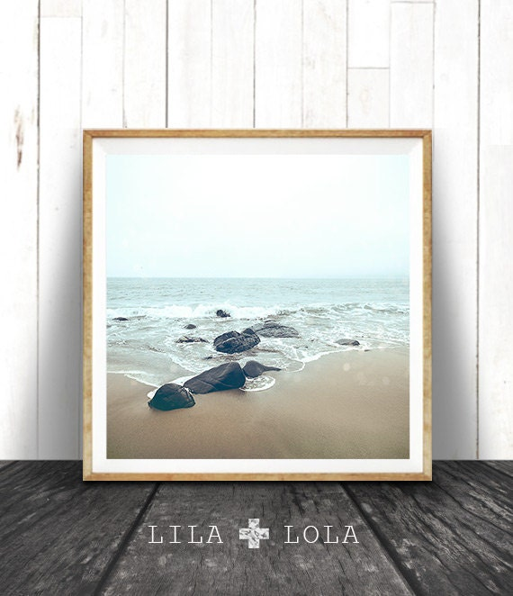 Beach Wall Art Print, Ocean Water, Coastal Decor, Square Printable, Digital Download, Colour Photography, Minimalist Style, Moody Ocean
