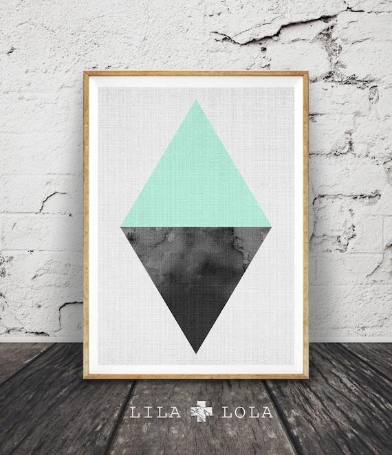 Triangle Print, Geometric Wall Art, Scandinavian, Minimalist Modern Design, Nordic, Mint Green Home Decor, Printable Instant Download