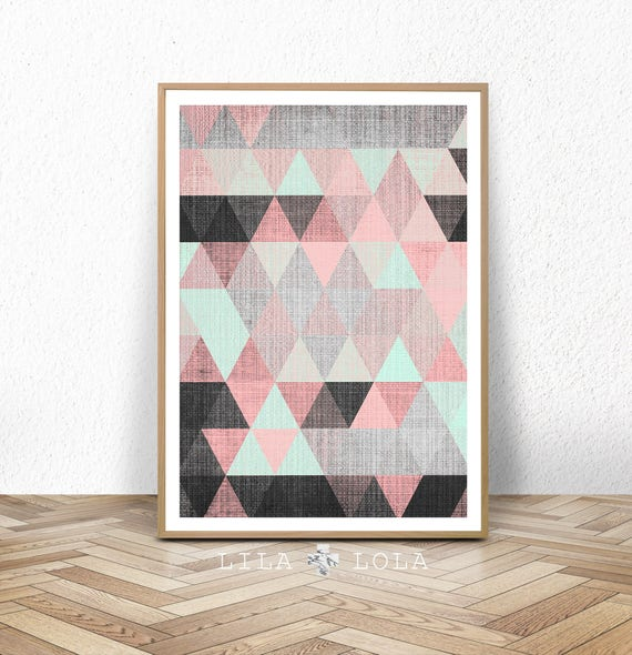Geometric Print, Scandinavian Wall Art, Printable Poster, Pink Grey Black Mint, Digital Download, Abstract Decor,  Large Wall Art