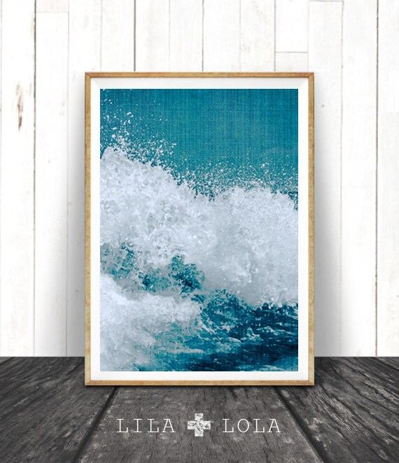 Beach Decor, Ocean Wave Art Print, Coastal Printable Art, Turquoise Blue Aqua Art, Instant Download, Ocean Water Wall Art, Water Photography