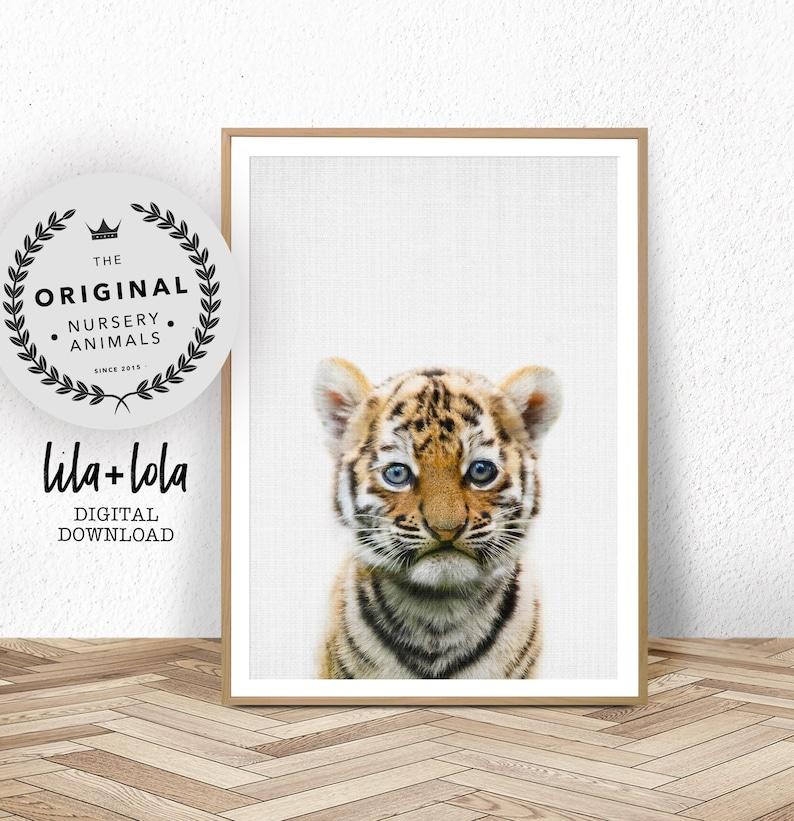 Tiger Print  Baby Animal Wall Art Safari Nursery Printable image 0