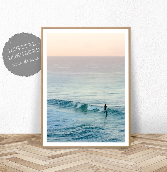 Surf Print, Ocean Photography, Digital Download, Beach Coastal Wall Art, Printable Pink and Teal, Large Surfing Poster, Australian Decor