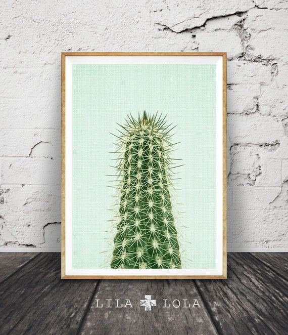 Cactus Print, Minimalist Garden Plant Art, Pastel Mint Green, Printable South Western Wall Decor, Desert Photography, Instant Download