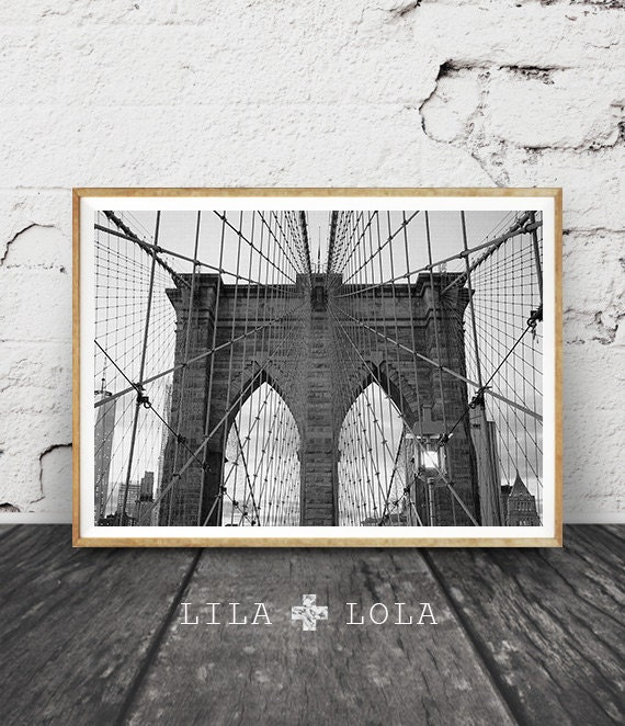 Brooklyn Bridge Print, New York City, NYC, Black and White Photography, Wall Art Decor, Printable Download, Travel Photo, Large Poster