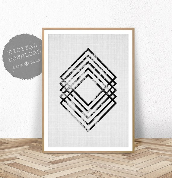 Geometric Print, Scandinavian Wall Art, Black and White Abstract, Printable Digital Download, Large Poster, Modern Minimalist, Scandi Decor