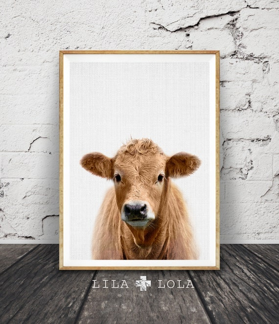 Cow Print, Nursery Farm Animal Wall Art, Colour Printable Photo, Digital Download, Large Poster, Farmhouse Decor, Modern Minimalist