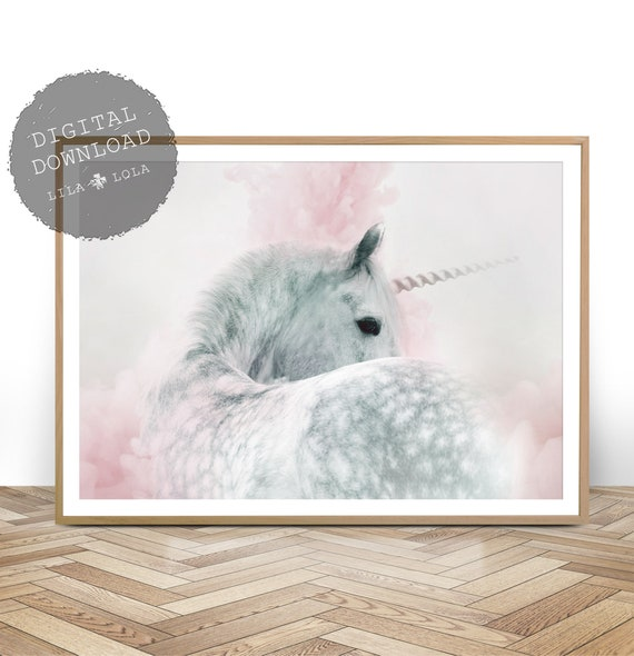Girls Bedroom Decor, Unicorn Nursery Wall Art Print, Whimsical Pink And Grey Gray Pastel Pretty, Poster, Printable Instant Digital Download