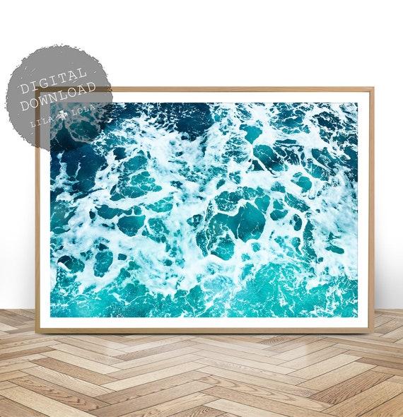 Ocean Art Print, Digital Download, Coastal Beach Decor, Large Printable Wall Art, Beach Art Poster, Ocean Water, Minimalist Ocean Art Print