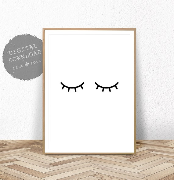 Eyelash Print, Nursery Wall Art, Eyelashes Poster, Girls Room Decor, Printable Digital Download, Black and White, Kids Bedroom, Minimalist