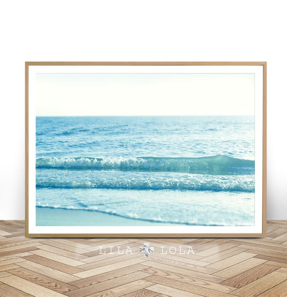 Beach Wall Art Print, Coastal Photography, Printable Digital Download, Large Wall Art, Ocean Water Waves, Minimalist Beach
