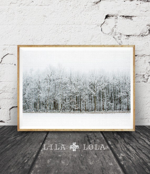 Modern Scandinavian Print, Winter Landscape Photography, Scandi Wall Art Decor, Snow Trees Forest, Nature Wilderness, Printable