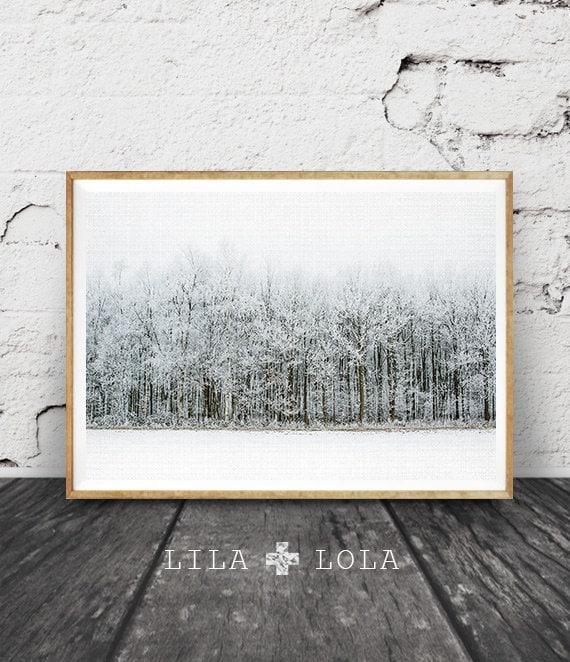 Modern Scandinavian Print, Winter Landscape Photography, Scandi Wall Art Decor, Snow Trees Forest, Nature Wilderness, Printable