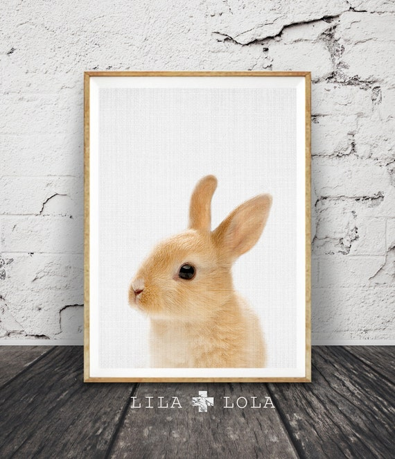 Rabbit Print Wall Art, Baby Nursery Animal, Woodlands Nursery Decor, Shower Gift, Printable Woodlands Decor, Digital Download, Large Poster