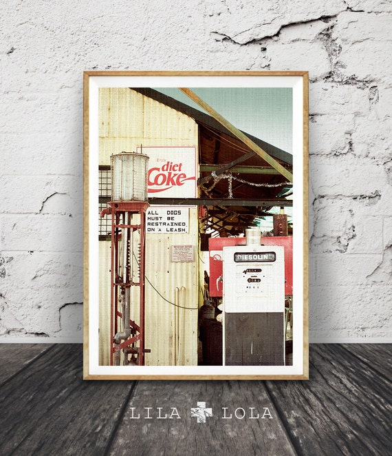 Desert Photography, Retro Coke Sign, Vintage Petrol Pump, Outback Australia, Western Decor, Arizona, Large Poster, Instant Digital Download
