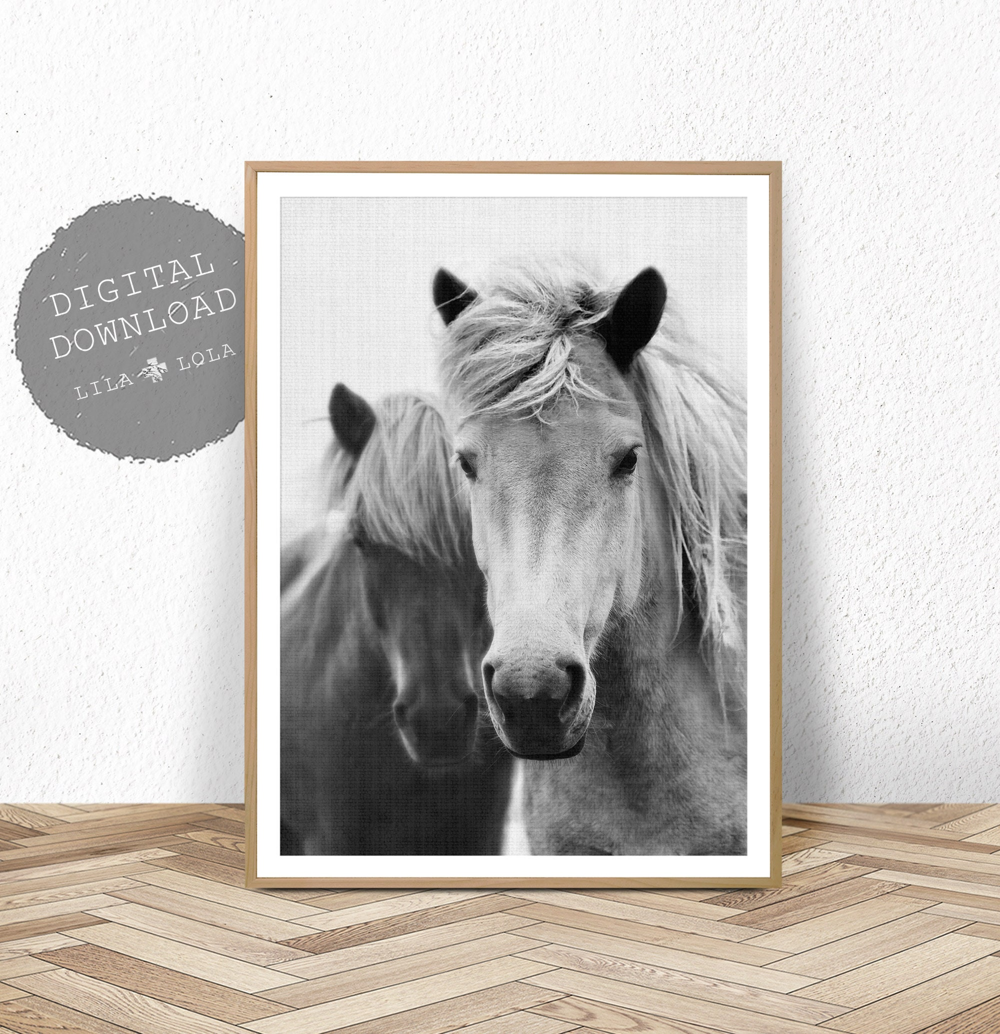 Horse Wall Art Print Photography Black And White Digital Download Printable Horse Art Black And White Horse Photo Large Wall Art Print