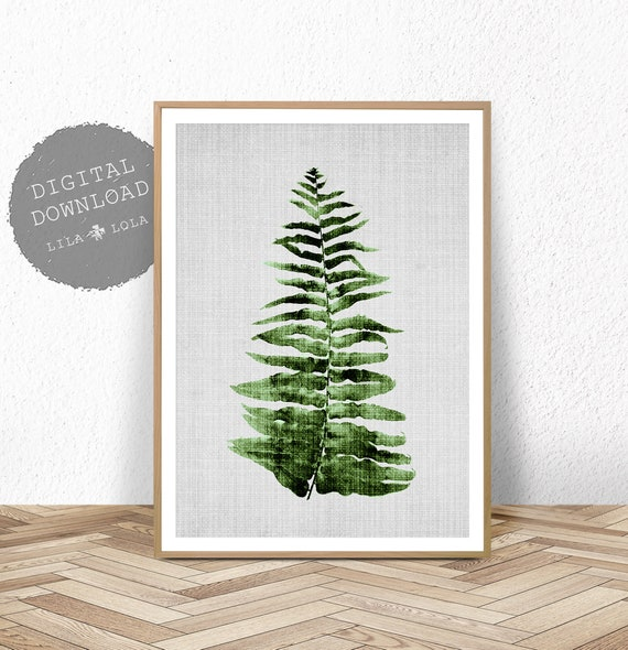 Botanical Print, Fern Leaf Wall Art, Printable Poster, Digital Download, Plant Leaf Printable, Tropical Decor, Botanical Poster