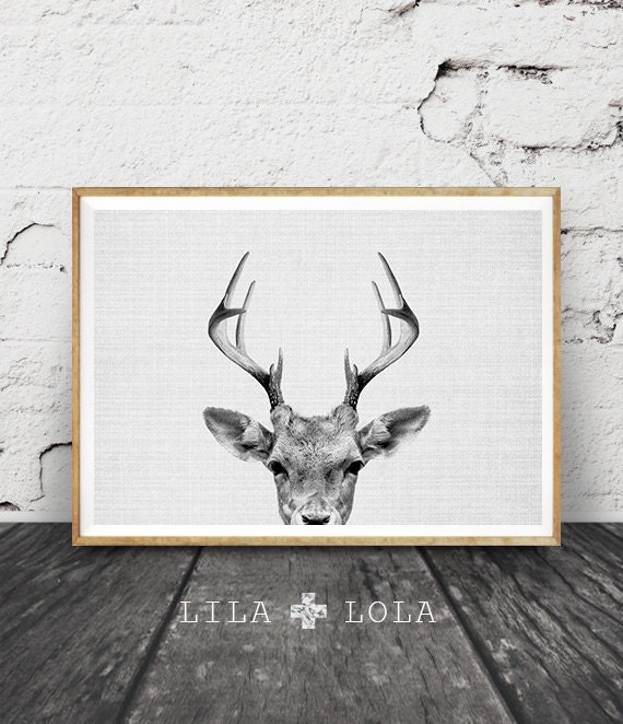 Deer Wall Art Print, Deer Head, Antlers, Woodlands Nursery Animal, Digital Download, Large Horizontal Poster, Black and White, Nursery Decor