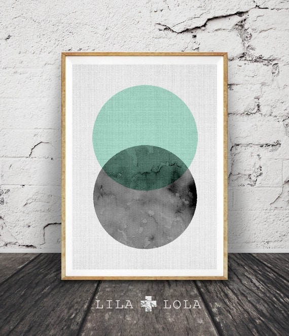Modern Wall Art, Minimalist Decor, Geometric, Circle Print, Mint Green and Black, Scandinavian Style, Design, Printable, Large Poster Art