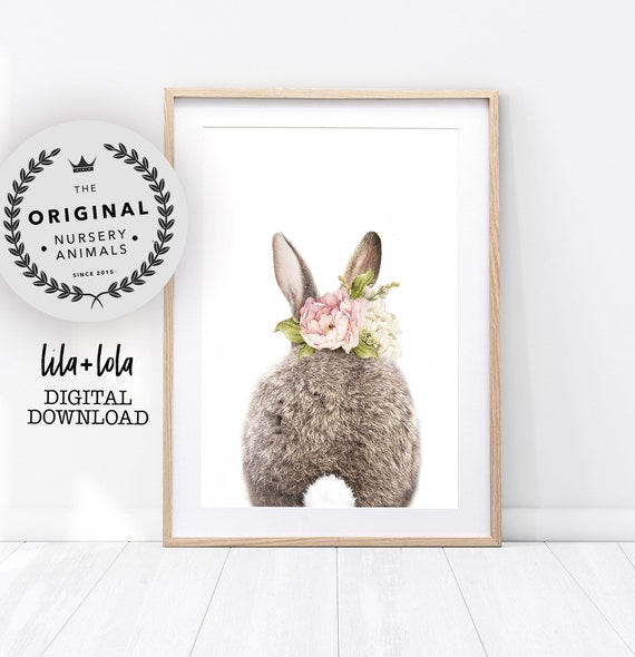 Floral Bunny Rabbit Tail Print - Digital Download