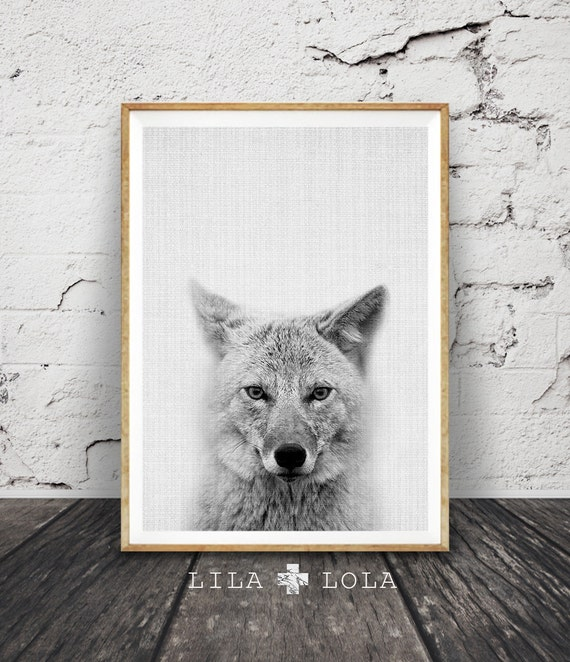 Coyote Art, Woodlands Nursery Wall Print, Woodlands Animal Art, Black and White Coyote, Printable Nursery Decor, Nursery Art Printable Decor