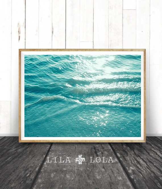 Ocean Water Wall Art Print, Coastal Beach Photography, ModernMinimal, Large Poster, Instant Digital Download, Printable Decor, Aqua Blue