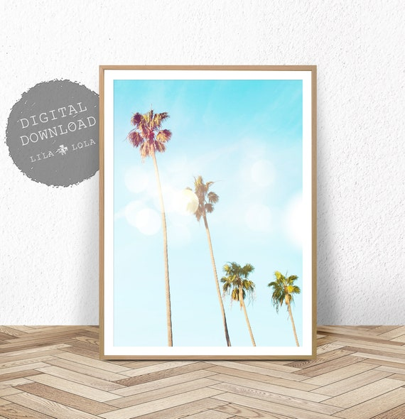Palm Tree Print, Printable Digital Download, Beach Coastal Tropical Wall Art Decor, Large Palm Tree Poster, Beach Photography, Palm Tree Art