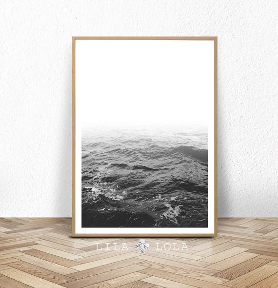 Ocean Water Waves, Black and White Photography, Beach Coastal Art Print, Large Printable Poster, Digital Download, Modern Minimalist