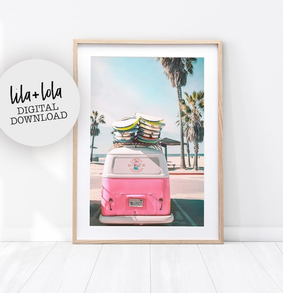 Printable Beach Print, Digital Download, Coastal Tropical Wall Art Decor, Photography Poster, Pink Combi Van, Surf Surfboards, VW Camper