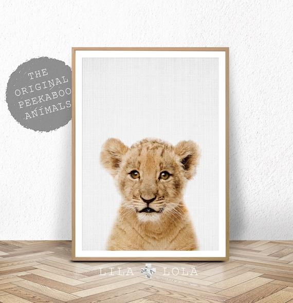 Lion Cub Print, Safari Nursery Decor, Baby Animal, Kids Wall Art, Printable Digital Download, Large Poster, Modern Nursery Wall Art Decor