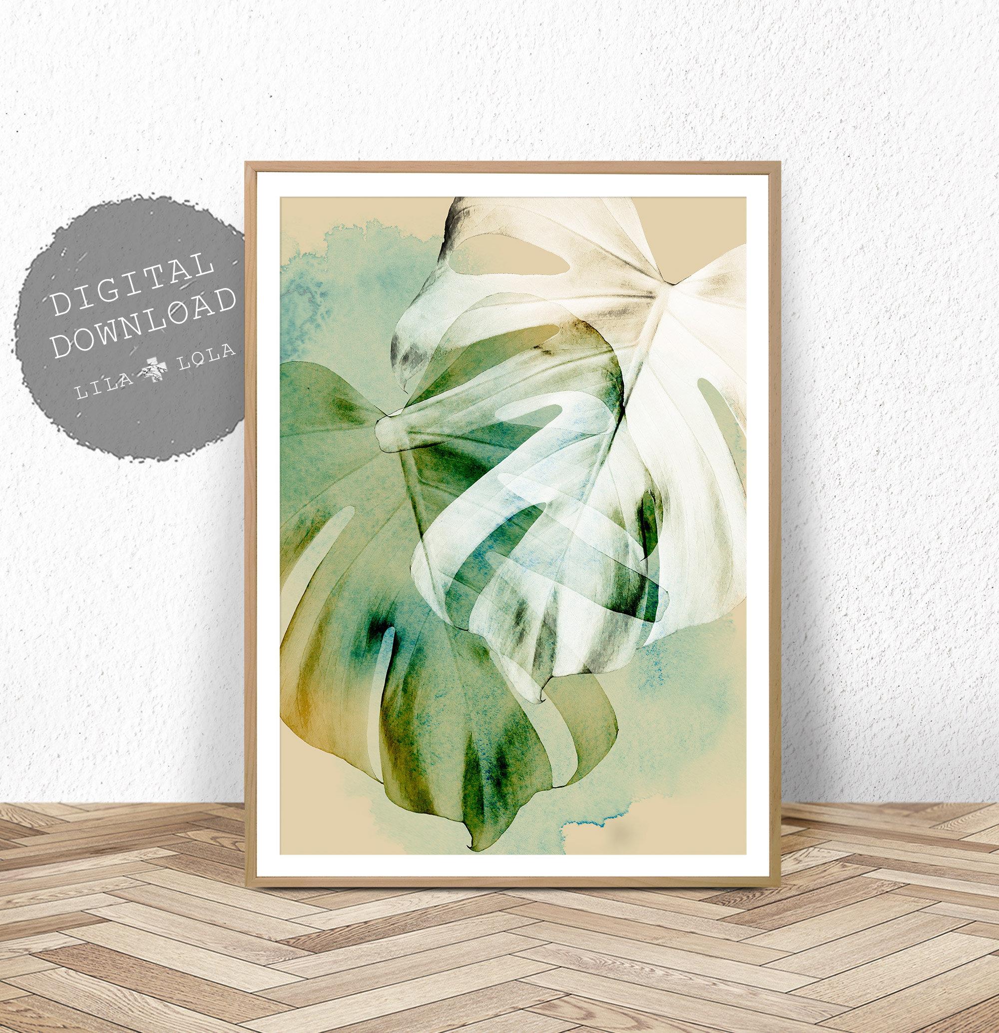 Leaf Print Tropical Wall Art Decor Monstera Plant ...