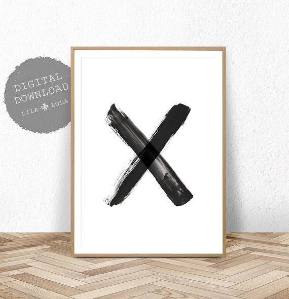 Abstract Art Print, Digital Download, Printable Poster, Large Wall Art, Black and White Cross X, Modern Minimalist, Scandinavian Painting