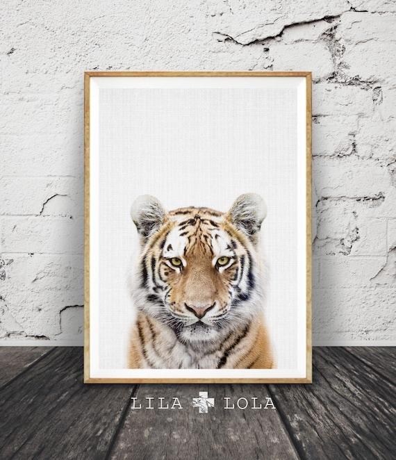 Tiger Print, Nursery Animal Wall Art, Safari Nursery Decor, Baby Boys Room, Kids Tiger Photo, Printable Large Poster Instant Download