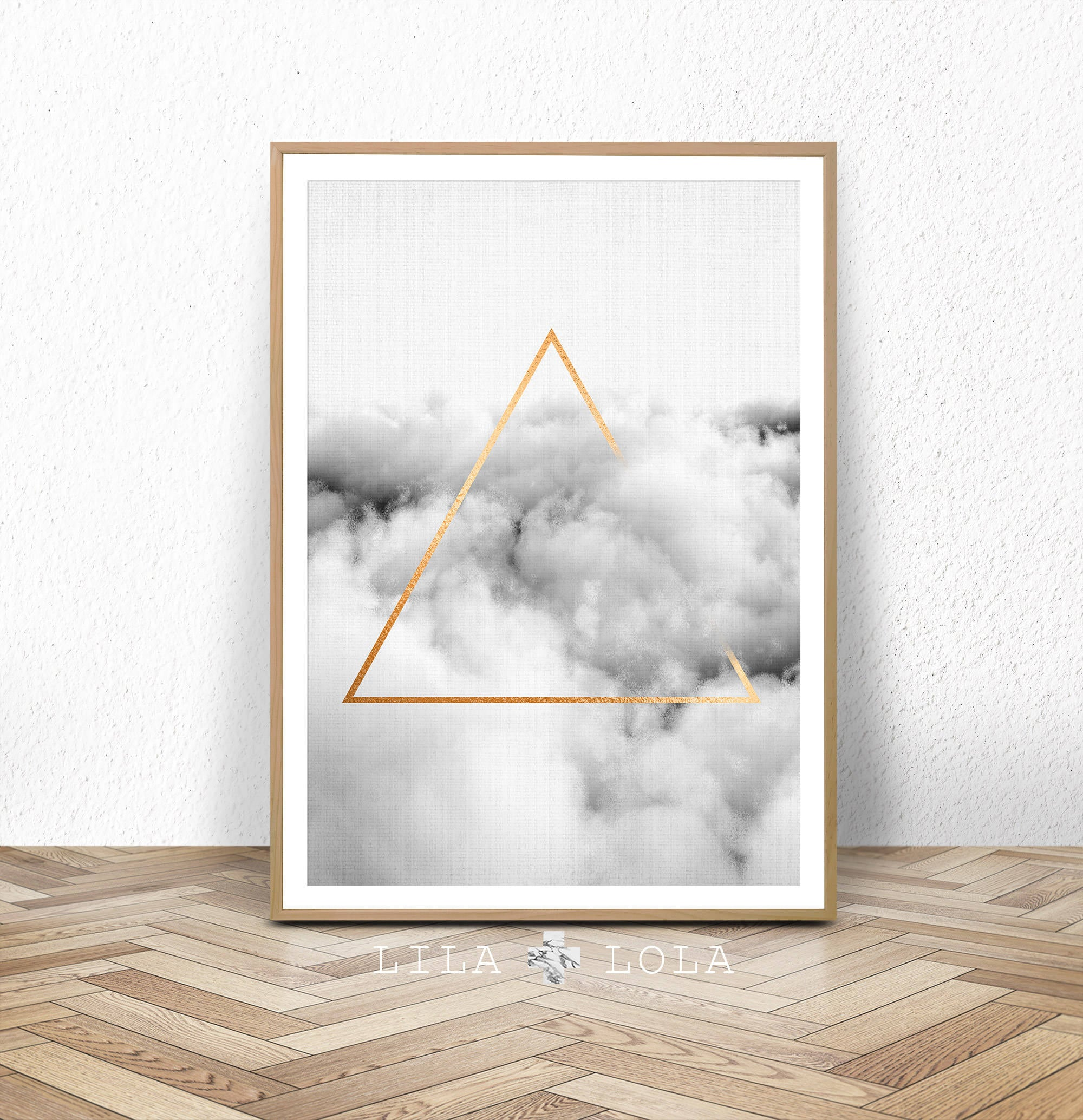 Geometric cloud print black and white printable poster large abstract prints gold triangle digital download minimalist wall art decor