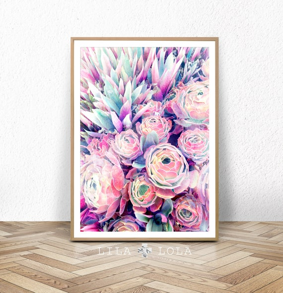 Succulent Print, Watercolour Painting Effect, Flower Wall Art, Modern Botanical, Pastel, Printable Decor, Large Poster, Digital Download