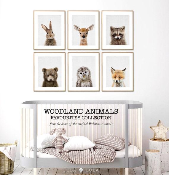 Woodland Nursery Decor Prints, Wall Art Animals, Printable Digital Download, Woodland Prints Set, Rabbit, Deer, Racoon, Bear, Owl and Fox