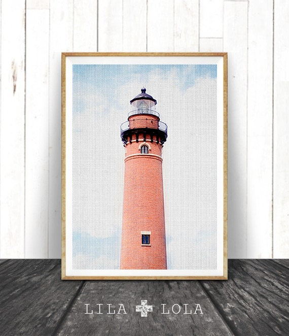 Lighthouse Colour Photography, Coastal Beach Decor, Nautical Wall Art Print, Printable Photo, Instant Digital Download, Modern Minimalist