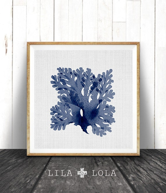 Seaweed Illustration, Navy Blue Square Coral Print, Coastal Decor, Beach Nautical, Printable Digital Download, Sea Pulp, Ocean Plant Life