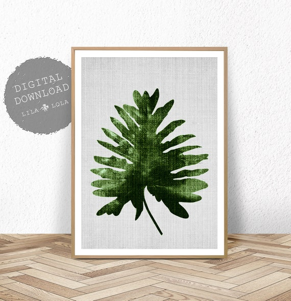 Palm Leaf Print, Botanical Wall Art Decor, Digital Download, Printable Large Poster, Printable Palm Leaf Decor