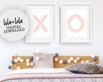 X and O Print Set, Pink Nursery Wall Art, Girls Room Decor - DIGITAL DOWNLOAD -  Large Printable Poster, Blush, Coral, Pastel Bedroom