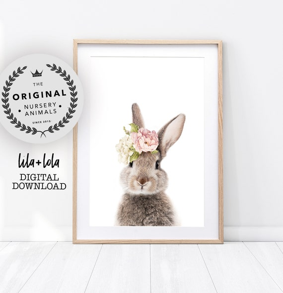 Floral Bunny Rabbit Print - Digital Download