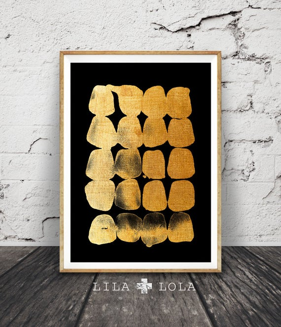 Abstract Painting, Wall Art Print, Black and Gold, Modern Minimalist, Brush Strokes, Large Printable Poster, Digital Download, Home Decor