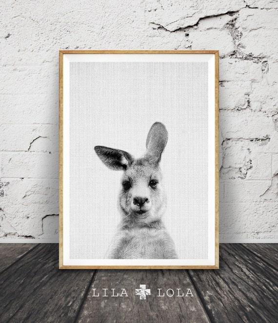 Kangaroo Print, Australian Animal Wall Art, Nursery Decor Black and White, Printable Kids Room Large Poster, Digital Download, Australiana