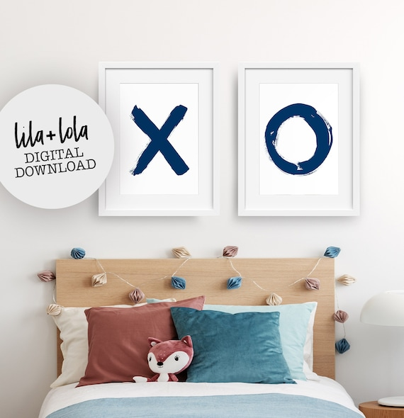 X and O Navy Blue Print Set - Digital Download