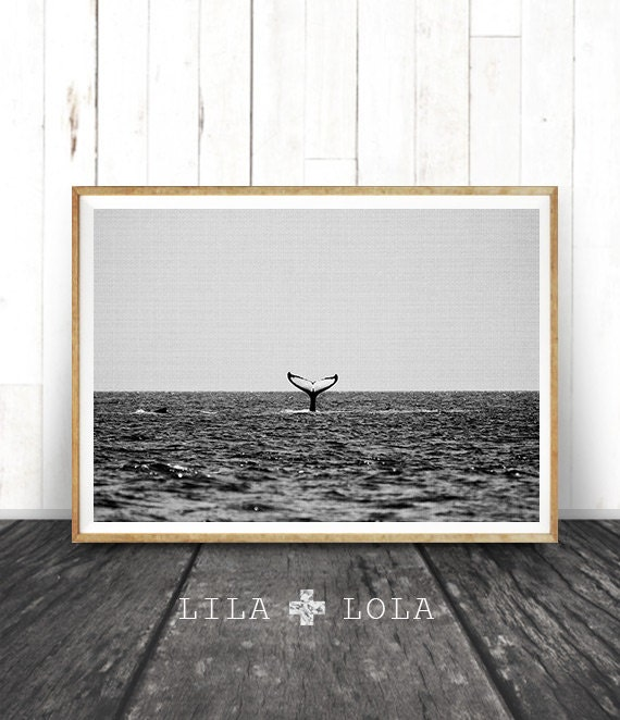 Whale Print, Coastal Decor, Beach Print, Black and White Photography Wall Art, Ocean Water, Tail, Minimalist, Printable Instant Download