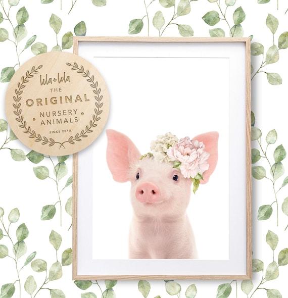 Floral Piglet Print - Digital Download
