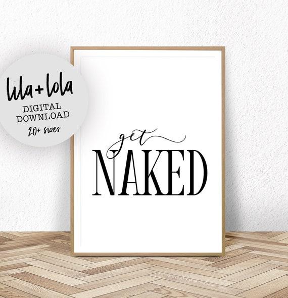 Bathroom Wall Decor, Funny Bathroom Signs, Bathroom Wall Art, Get Naked Sign, Printable Wall Art, Black and White, Scandinavian Poster