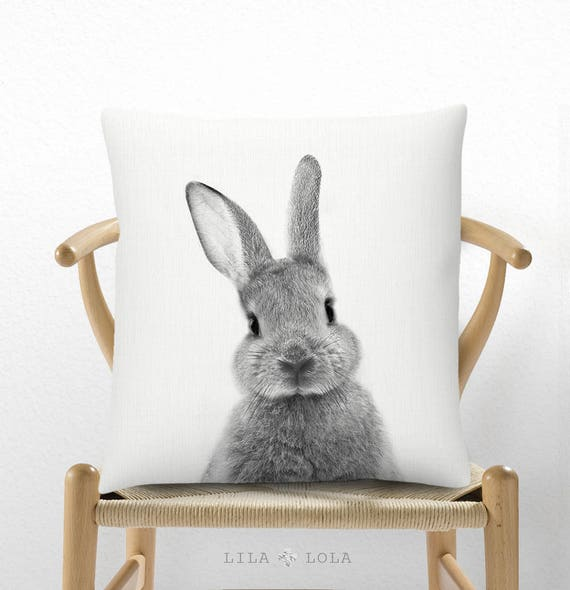 Bunny Rabbit Pillow, Cushion, Nursery Decor, Bunny Print, Kids Room, Childrens Bedroom, Woodlands, Black White and Grey, Gender Neutral Gift