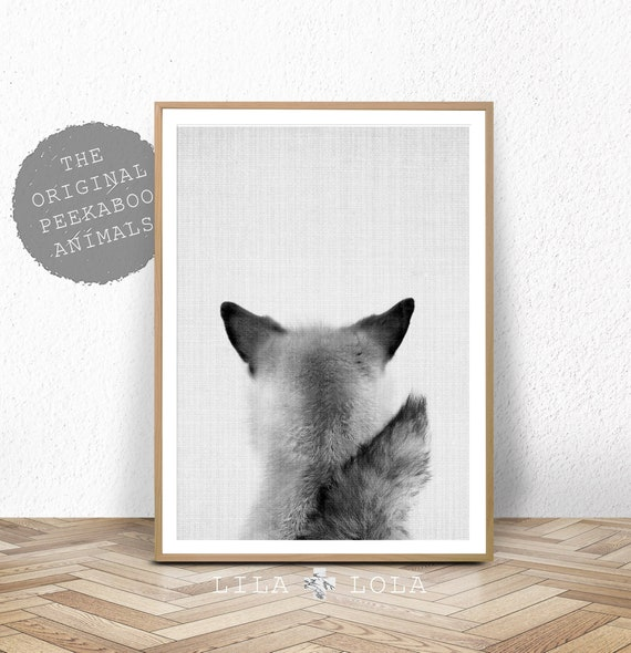 Printable Nursery Art, Woodland Fox Decor Print, Instant Digital Download, Baby Animal Print, Black and White Poster, Baby Fox Cub Photo