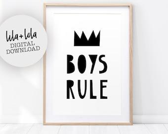 Boys Rule Print, Nursery Decor, Scandinavian Kids, Printable Wall Art, Black and White, Modern Quote, Playroom Poster